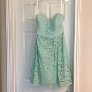 David's Bridal seafoam green lace dress